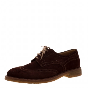 Brunello Cucinelli Brown Suede Brogue Lace Up Oxfords Size 43