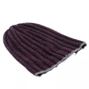 Brunello Cucinelli Purple Melange Cashmere Rib Knit Beanie