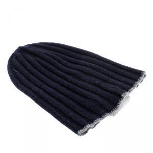 Brunello Cucinelli Navy Blue Cashmere Rib Knit Beanie