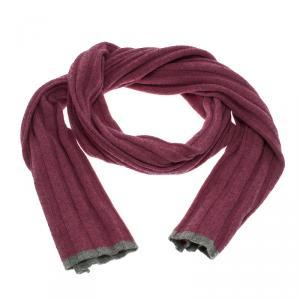 Brunello Cucinelli Pink & Grey Trim Knit Cashmere Scarf