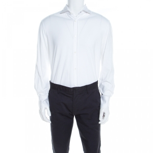 Brunello Cucinelli White Cotton Jersey Long Sleeve Slim Fit Shirt XL - used