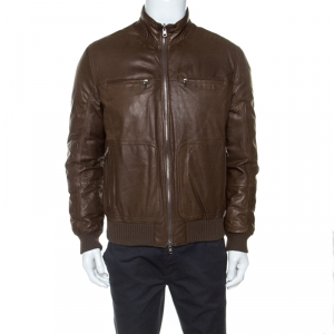 Brunello Cucinelli Brown Leather Bomber Jacket L
