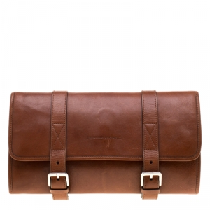 Brunello Cucinelli Brown Leather Hanging Wash Bag