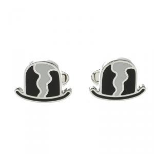 Burberry Black & White Enamel Silver Tone Cufflinks