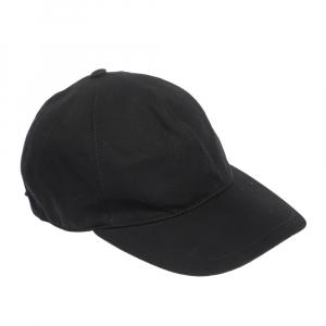 Burberry Black Cotton DK Logo Crest Cap