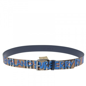 Burberry Multicolor Graffiti Print Check Coated Canvas Belt 105CM