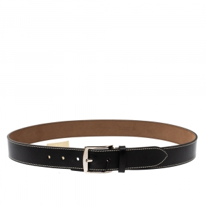 Burberry Black Leather Gray35 Buckle Belt 90CM