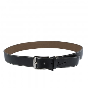 Burberry Black Topstitched Leather Buckle Belt 105CM