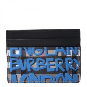 Burberry Multicolor Graffiti Print Coated Canvas and Leather Sandon Card Holder