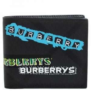 Burberry Black Printed Check Coated Canvas Bill Bifold Wallet