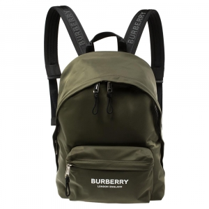 Burberry Green Nylon Logo Print Backpack