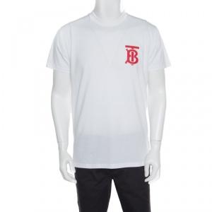 Burberry White B series Monogram Logo Detail Limited Edition Crew Neck T Shirt XXS -