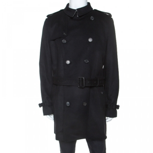 Burberry Black Wool Cashmere Trench Coat 3XL