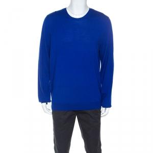 Burberry Brit Cobalt Blue Merino Wool Checked Detail Sweater XXL
