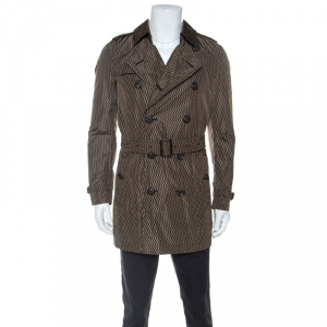 Burberry Brown Geometric Print Nylon Trench Coat L