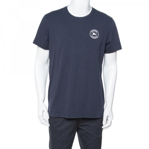 Burberry Navy Blue Cotton Logo Embroidered Jenson T-Shirt L