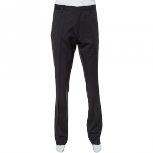 Burberry Black Wool Tapered Trousers XL