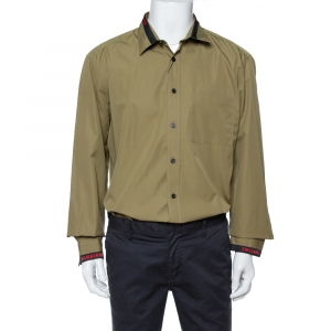 Burberry London Khaki Cotton Logo Detail Long Sleeve Button Front Shirt XXL