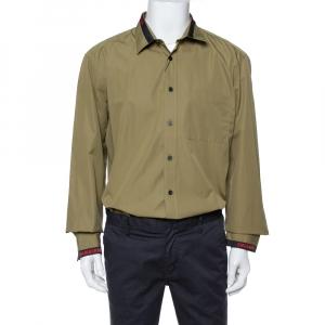Burberry London Khaki Cotton Logo Detail Long Sleeve Button Front Shirt XXL -