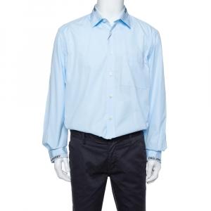 Burberry London Sky Blue Cotton Logo Detail Long Sleeve Button Front Shirt XL -