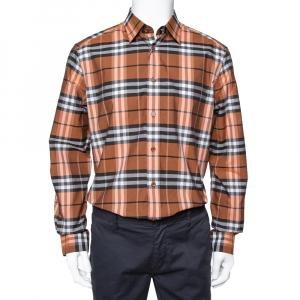Burberry Brown Vintage Check Cotton Button Front Shirt L -