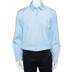 Burberry Blue Cotton Button Front Shirt 3XL -