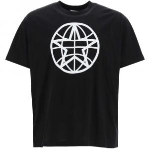 Burberry Black Globe Graphic Cotton Oversized T-shirt Size S -