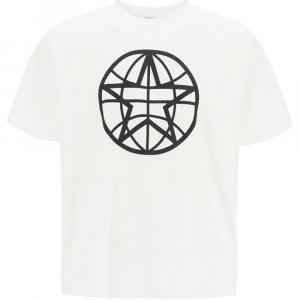 Burberry White Globe Graphic Cotton Oversized T-shirt Size S -