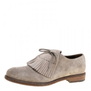 Burberry Grey Suede Ampney Fringe Detail Oxfords Size 43