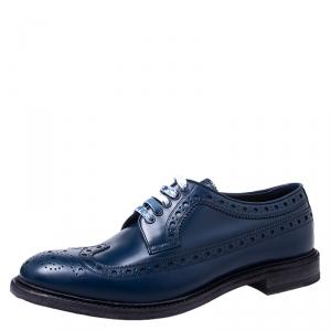 Burberry Blue Brogue Leather Alexton Lace Up Derby Size 44.5