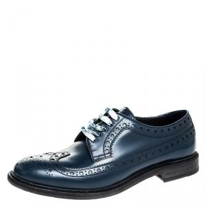 Burberry Blue Brogue Leather Alexton Lace Up Derby Size 41.5
