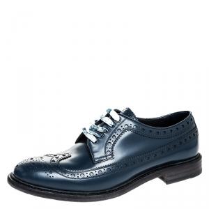 Burberry Blue Brogue Leather Alexton Lace Up Derby Size 44