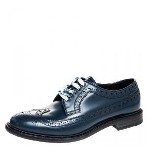 Burberry Blue Brogue Leather Alexton Lace Up Derby Size 42