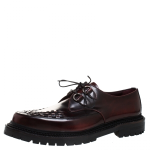 Burberry Burgundy Leather Lace Up Platform Creepers Size 44