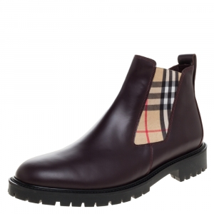 Burberry Brown Leather Vintage Check Chelsea Boots Size 45.5