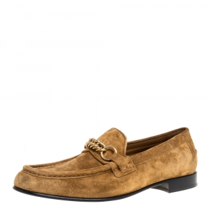 Burberry Brown Suede Leather Solway Chain Detail Slip On Loafers Size 42.5