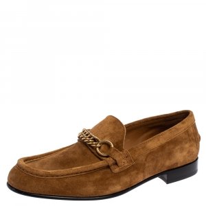 Burberry Brown Suede Leather Solway Chain Detail Slip On Loafers Size 43