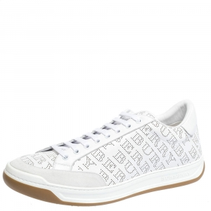 Burberry White/Grey Perforated Leather Timsbury Low Top Sneakers Size 45.5