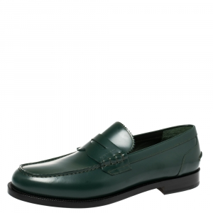 Burberry Dark Green Leather Bedmont Loafer Size 46