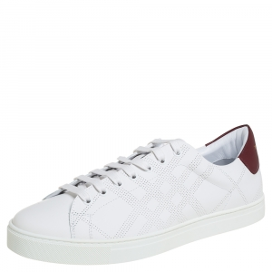 Burberry White Perforated Leather Albert Low Top Sneakers Size 44