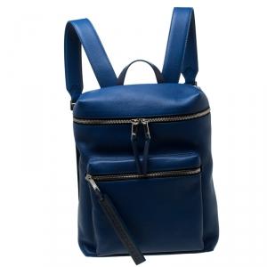 حقيبة ظهر بربري دوني جلد و نايلون أزرق و أسود