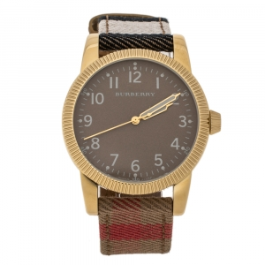 Burberry Brown Yellow Gold Tone Stainless Steel Plaid Canvas Leather BU7833 Men's Wristwatch 40 mm