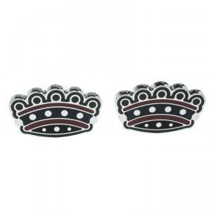 Burberry Novelty Crown Enamel Silver Tone Cufflinks