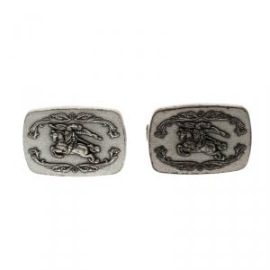 Burberry Knight Logo Silver Tone Cufflinks