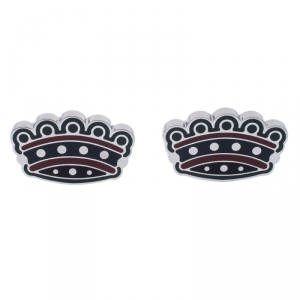 Burberry Novelty Crown Enamel Silver Tone Cufflinks