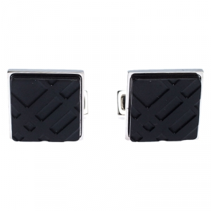 Burberry Silver Tone Check Engraved Square Cufflinks