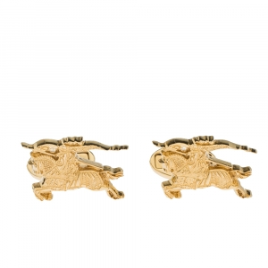 Burberry Equestrian Knight Gold Tone Cufflinks