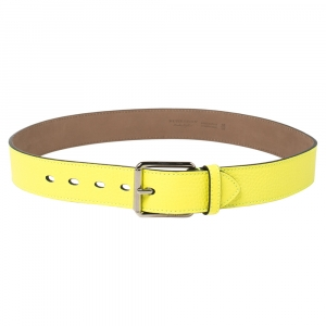 Burberry Neon Green Pebbled Leather Mark Buckle Belt 90 CM