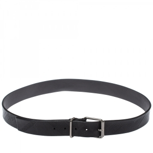 Burberry Black Check Embossed Leather Belt 105CM