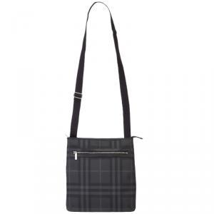 Burberry Black/Grey Check PVC Messenger Bag
